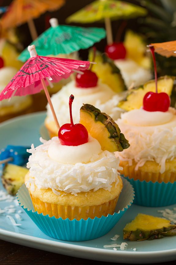 cupcake recipes for bridal shower%0A Pi  a Colada Cupcakes   Cooking Classy