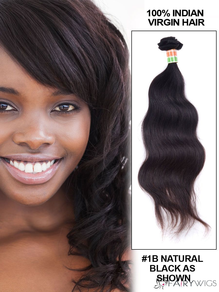 12 30 Body Wave Indian Remy Hair Extension Weft Natural Black