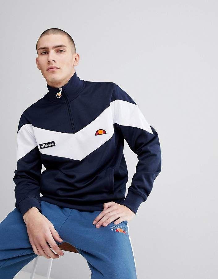 1fb058f1 Ellesse ellesse Half Zip Sweatshirt With Chevron Panel In Navy ...