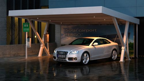 Desain carport beton mix baja ringan rumah arsitektur