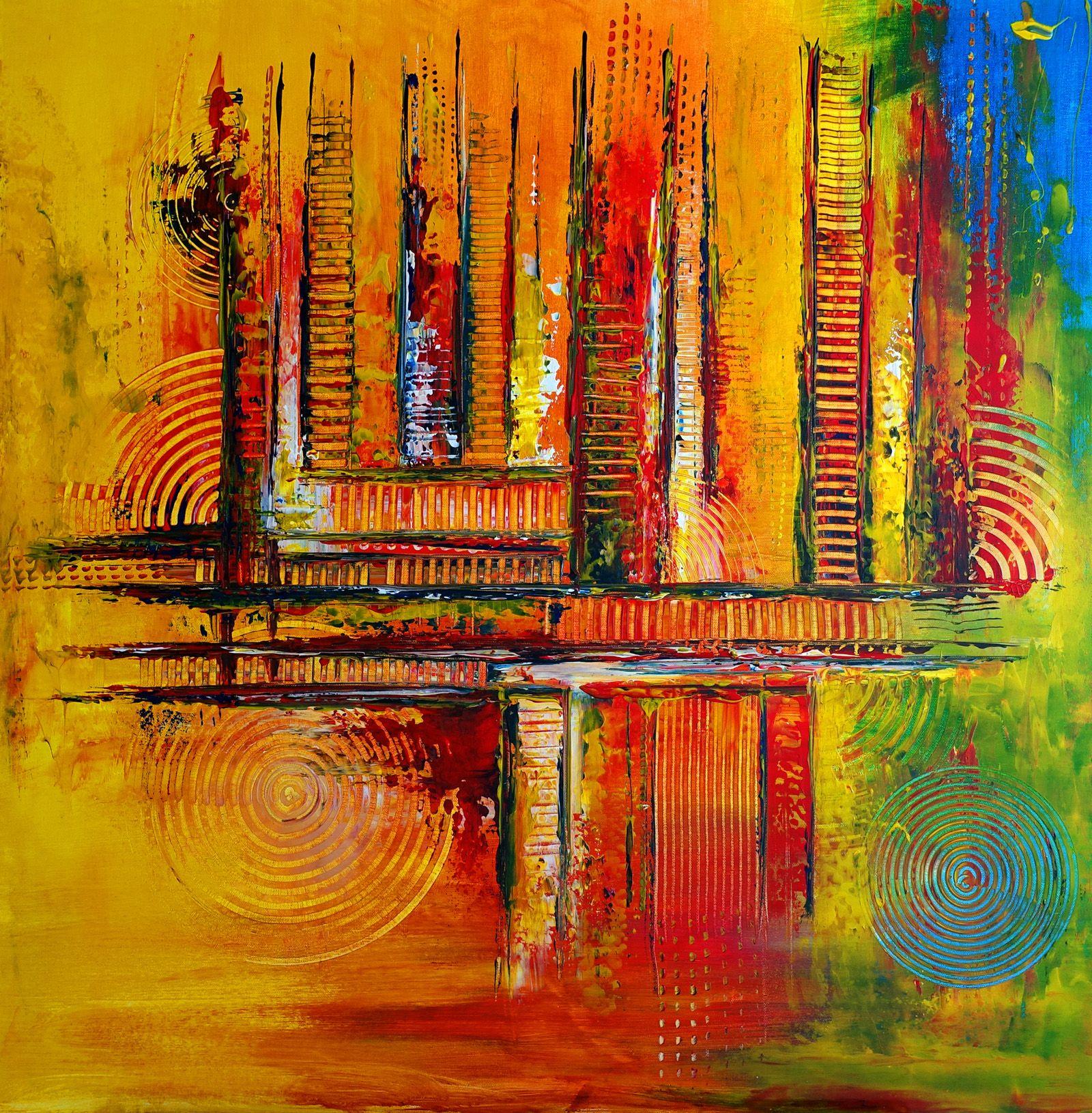 250 verkaufte abstrakte malerei orange gelb blau quadratisch wandbilder original gemalde kunst kunstwer abstrakt bilder skulpturen aus ton