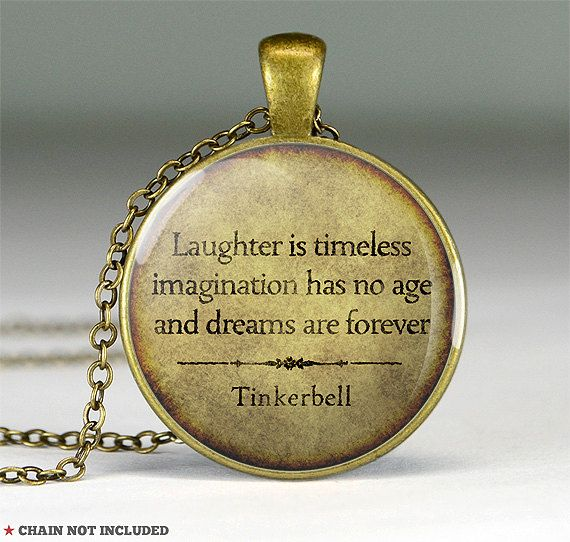 Peter Pan quote pendant charm,Peter Pan quote necklace,Tinkerbell quote resin pendant- Laughter is timeless imagination- Q0215CP on Etsy, $13.67 AUD