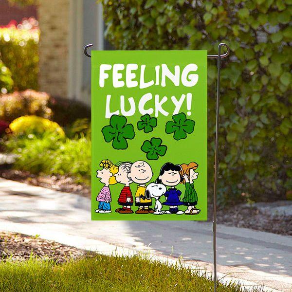 St. Patrick's Peanuts Feeling Lucky Garden Flag