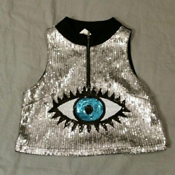 a640f42f6c6def Sequin Eye Crop Top Great Rave Wear Tops Crop Tops