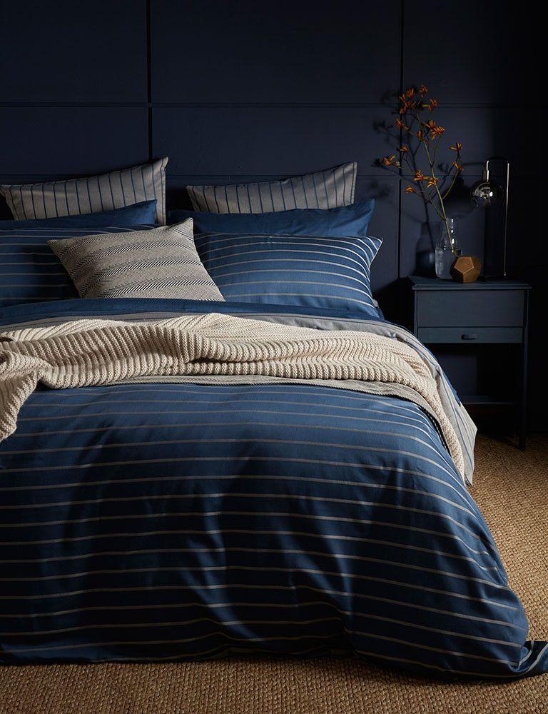 Breton Stripe Dark Blue Bed Linen Blue Bedding Luxury Bedding Master Bedroom Bed Linens Luxury