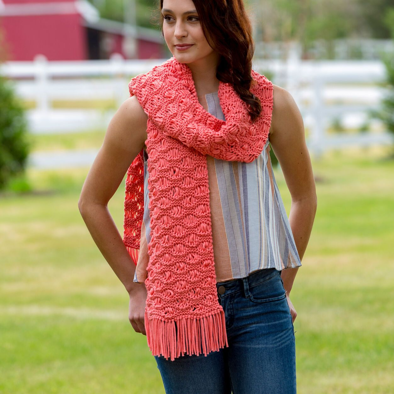 Red Heart Wavy Drop-Stitch Scarf in color in 2020 | Mens ...