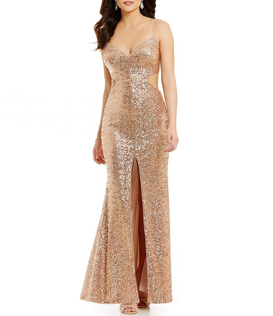 GB Social Sequin V-Neck Cutout Gown | wardrobe | Pinterest | Sequins ...