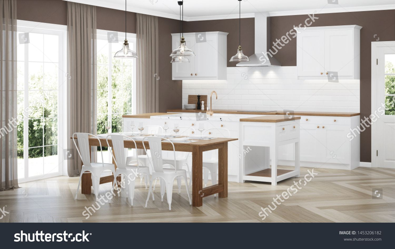 Modern House Interior Interior With White Kitchen 3d Rendering