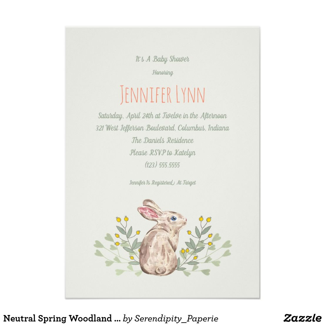 Neutral Spring Woodland Bunny Baby Shower Invite | Shower ...