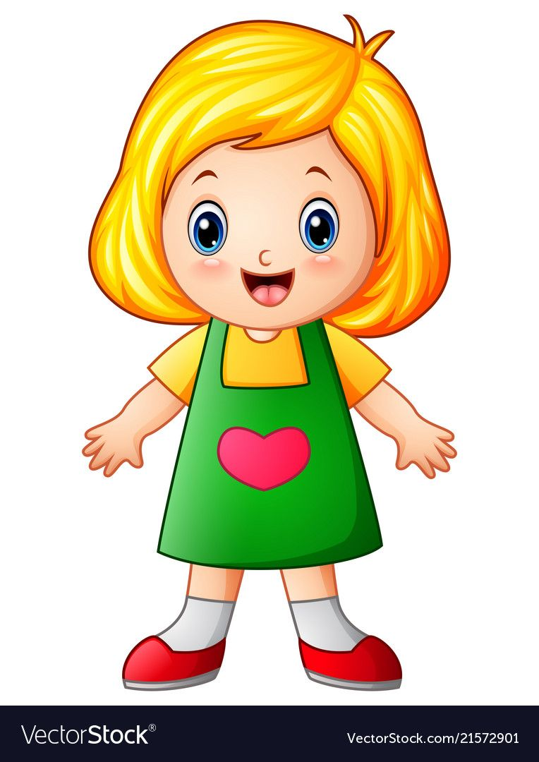 Cute little girl cartoon vector image on vectorstock