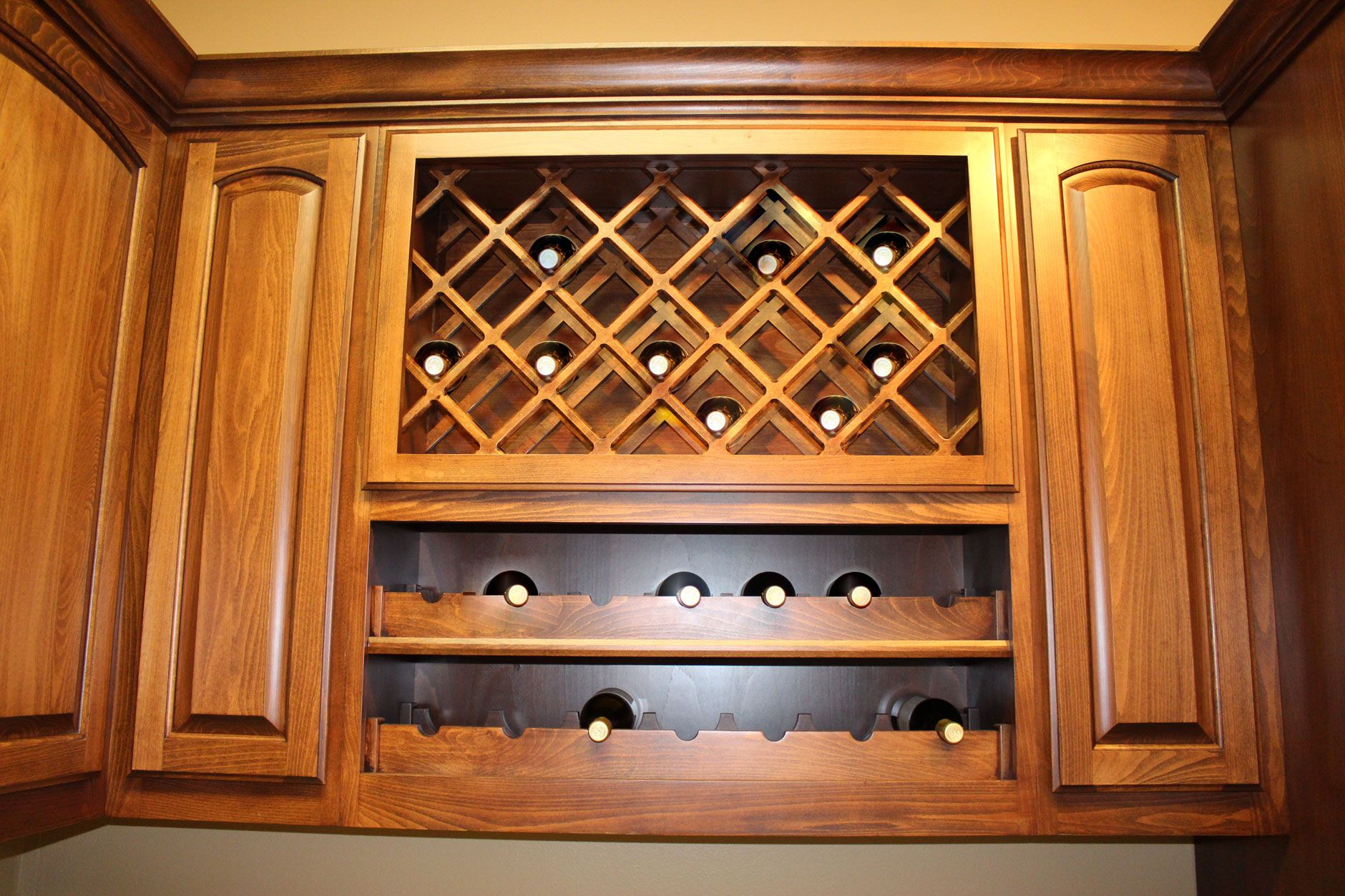 Wine Rack Lattice Rack Over Scalloped Rack Burrows Cabinets Central Texas Builder Direct Custom Cabine Kitchen Wine Rack Wine Rack Kitchen Cabinet Design