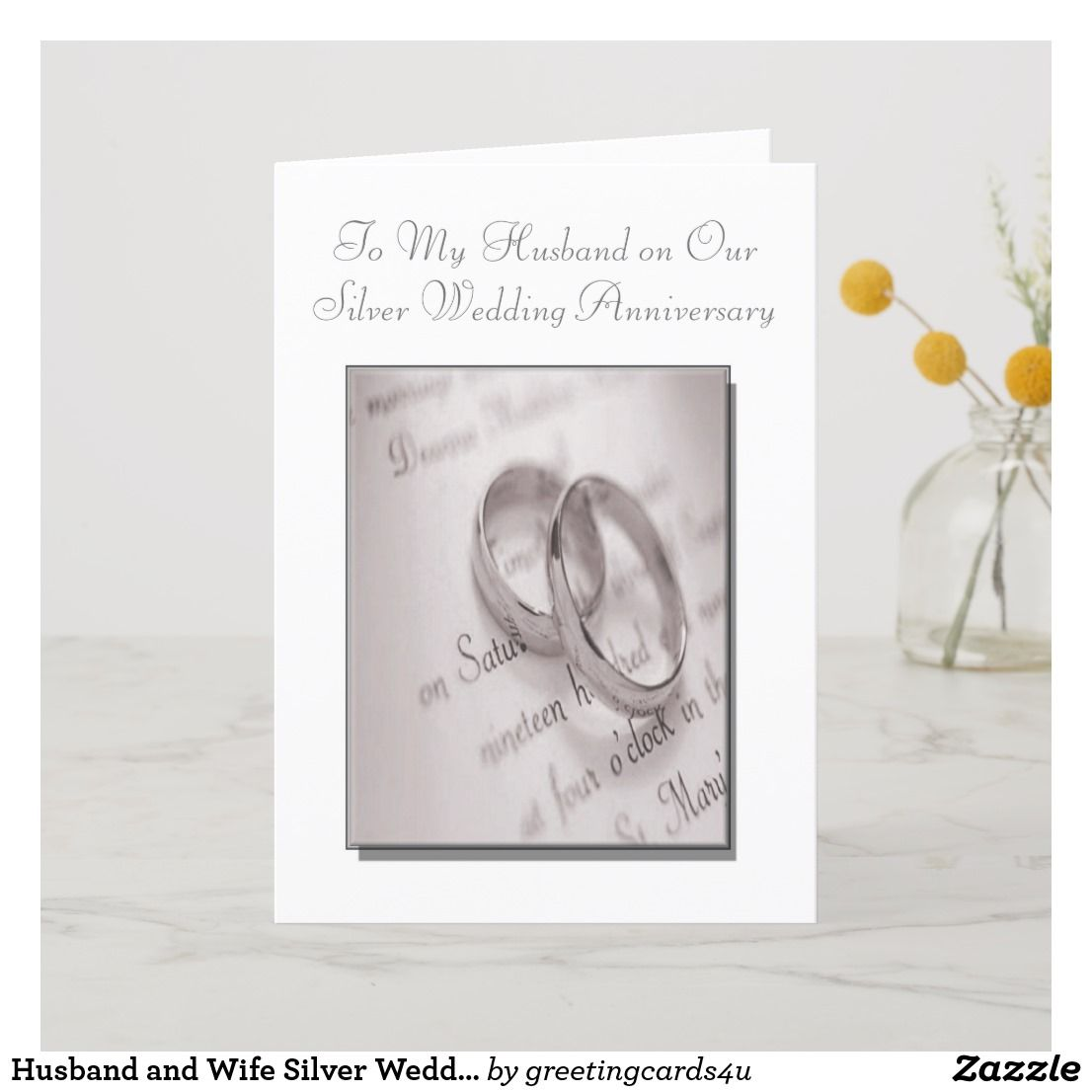 Husband and Wife Silver Wedding Anniversary Card Zazzle