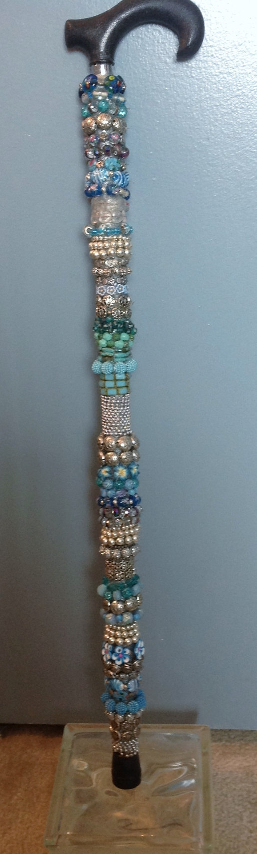 How To Decorate A Cane Decorative Beaded Cane and Walking Stick My60 Decorating Etsy 2
