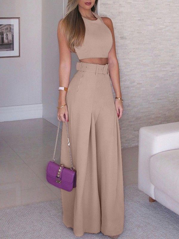 Solid Crop Top Self Belt Wide Leg Pant Sets Chic Outfits Fashion Fashion Outfits