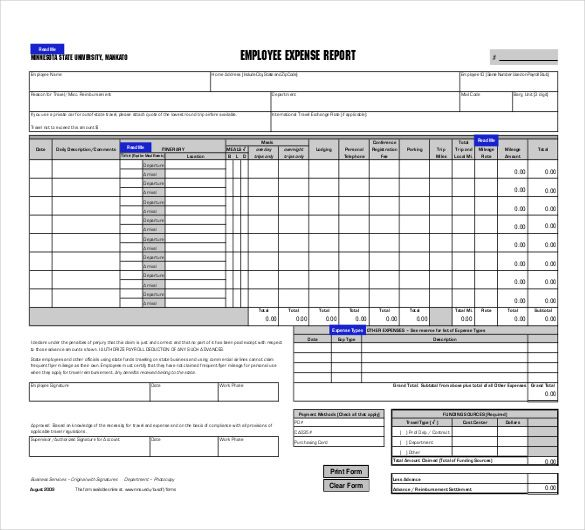 10 expense report templates free ms word excel pdf