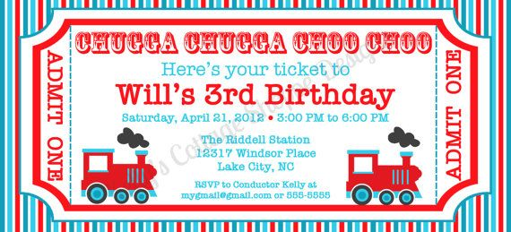 train birthday invitations Party Time Pinterest Ticket