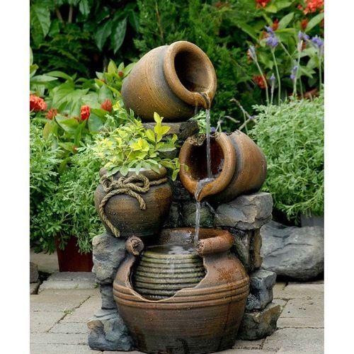 Water Fountain Indoor Outdoor Flower Pot Garden Feature Fountains