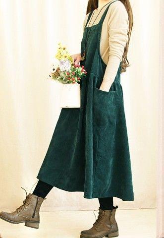 Günstige Mori Mädchen adrette Cord Maxi Plissee Kleid Frauen lose ...
