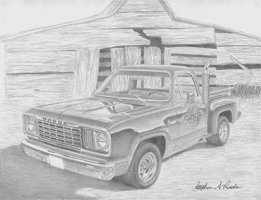 1978 Dodge Lil Red Express Sketch By Stephen Rooks Dodge Trucks Cool Trucks Automotive Art