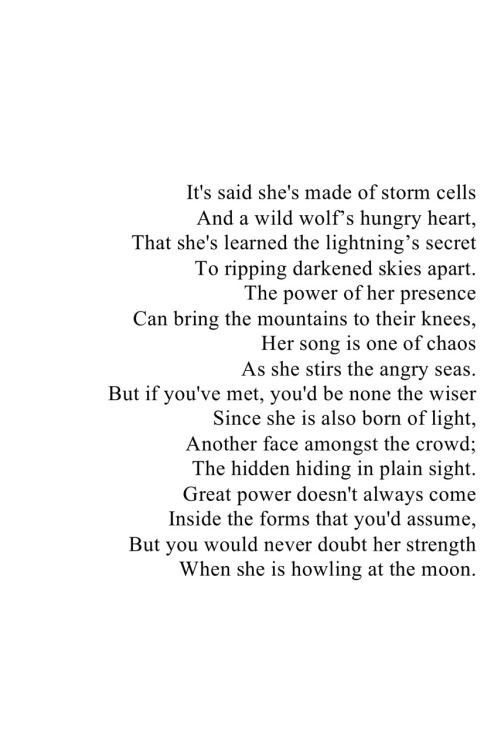 Never Doubt Her Strength When She S Howling At The Moon Words