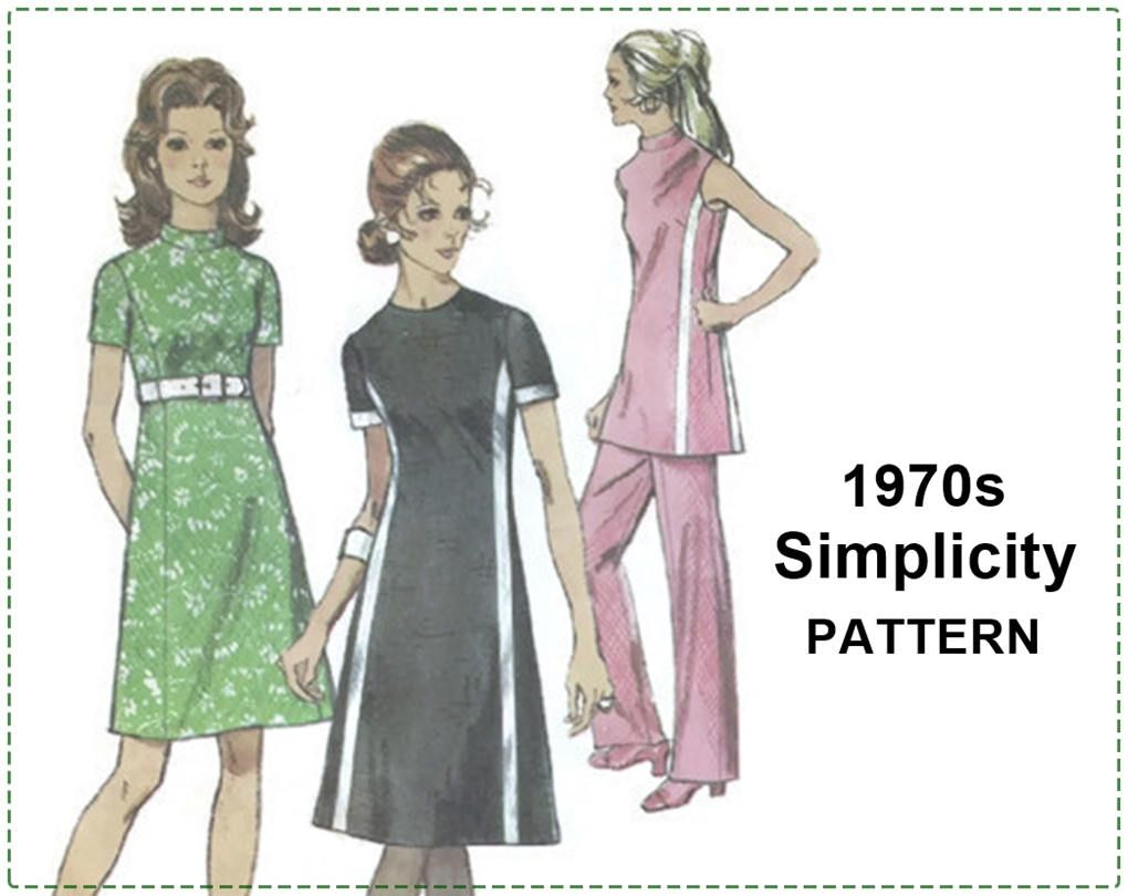 1970s Mod Sewing Pattern - Simplicity 9206 - Misses Dress, Tunic ...