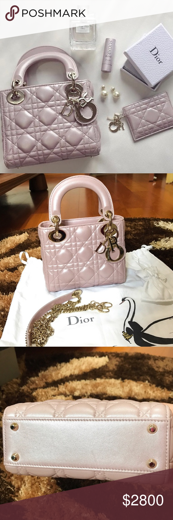 3100 Christian Dior Lady Dior Mini Pearl Pink Bag Limited edition!  Absolute find! Only 86f5c010719a5
