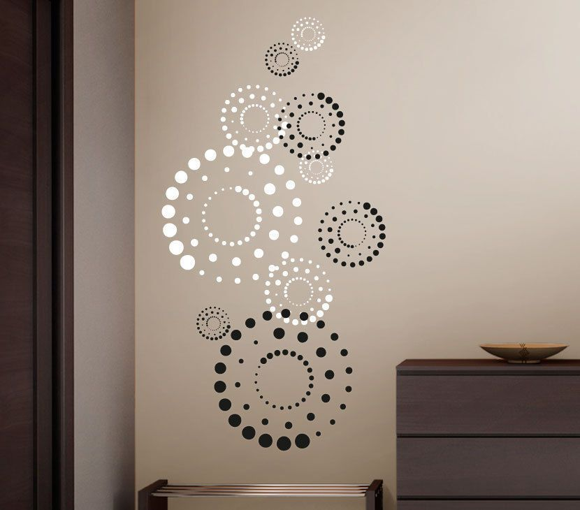 details zu wandtattoo wandsticker wandaufkleber 2 farbig kreise circles punkte dots w3205 bad. Black Bedroom Furniture Sets. Home Design Ideas
