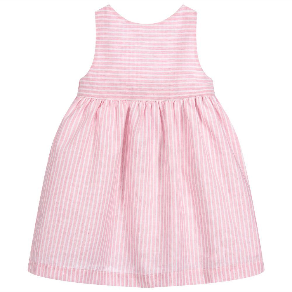 90785b2c46 Girls pretty pale pink and white striped dress by Laranjinha. Beautifully  made in a soft