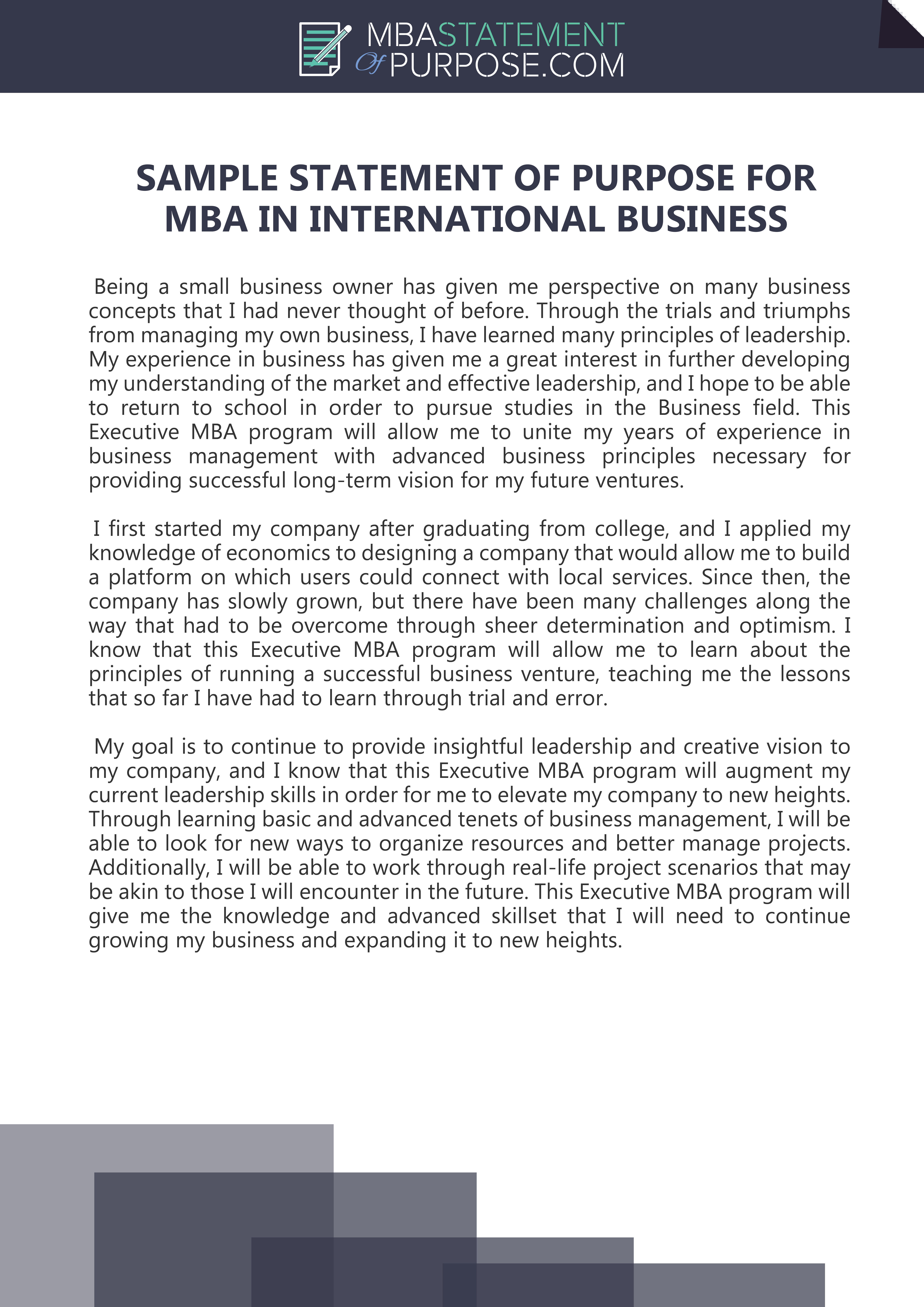 Sample Statement Of Purpose For Mba In International Busines Writing Tips Personal