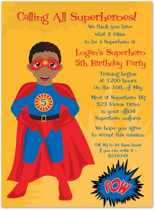 Superhero Party Invite Wording