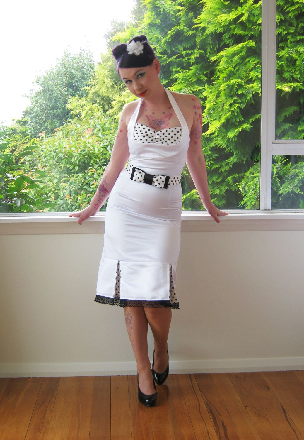 1950s Bridget Pin Up White Wiggle Halterneck Wedding Dress With Polka Dot Kick Pleats And Belt