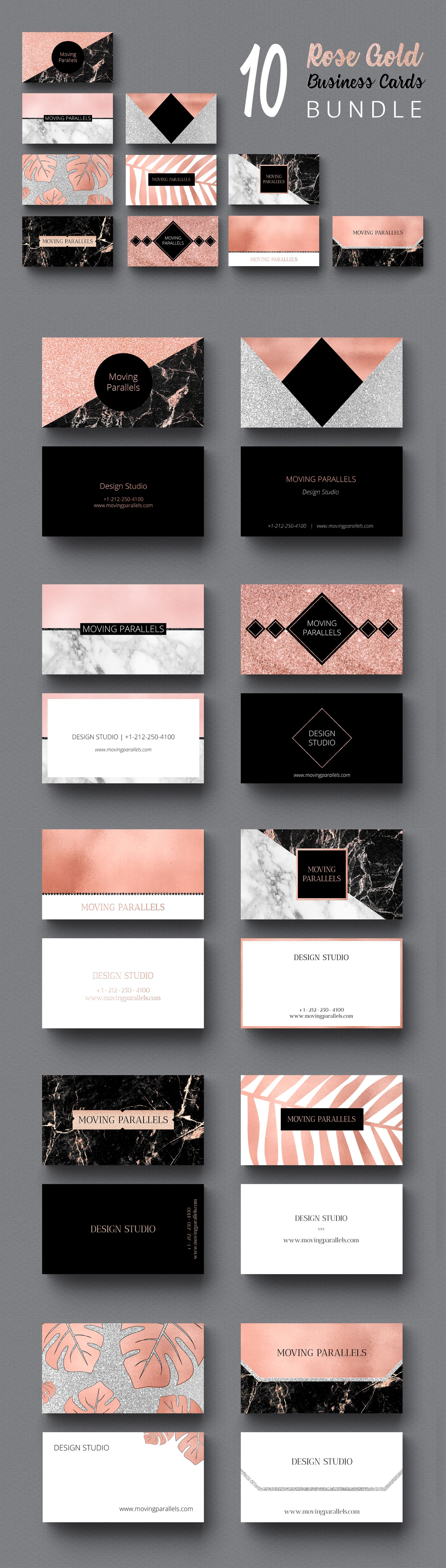 Rose Gold White Black Marble Glitter Foil Business Card Template ...