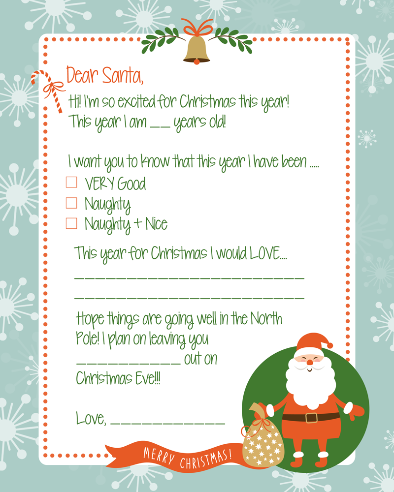 FREE Letter to Santa Print Christmas coloring sheets