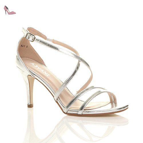 ff698f37a2d073 Femmes talon moyen haut lanières croisé mariage bal sandales taille 4 37 -  Chaussures ajvani (
