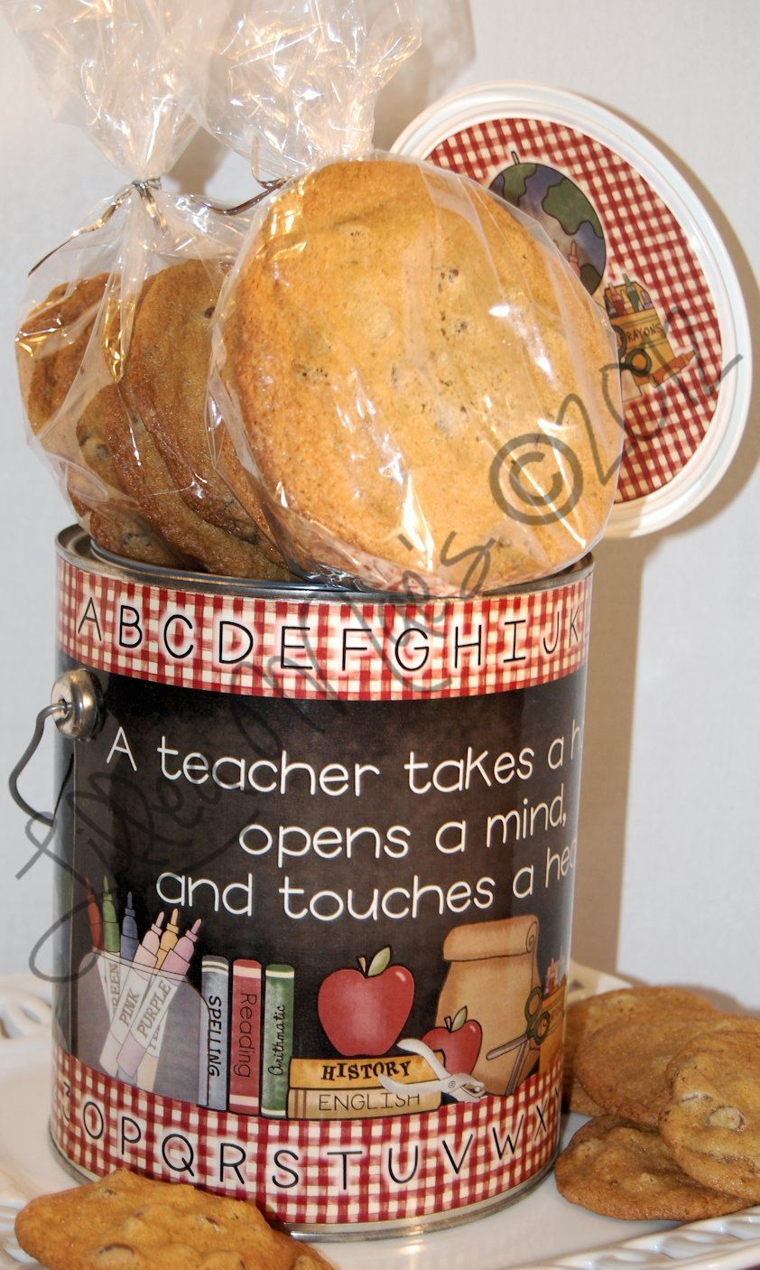 Teacher Gift - Cookies in a Can - Teacher Appreciation - Holiday Gift. $30.00, via Etsy.
