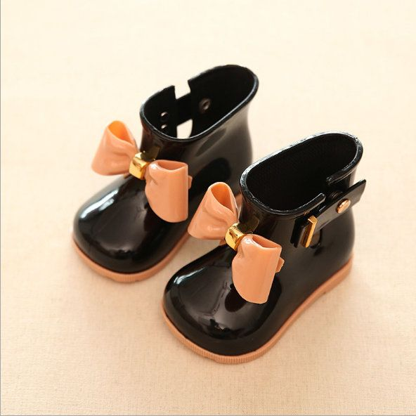 Baby Kids Infant Rain Girls Boots Bow Jelly Cute Princess Rubber Non-slip Shoes