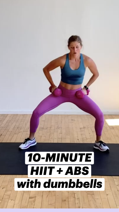 10-MINUTE HIIT + ABS with dumbbells