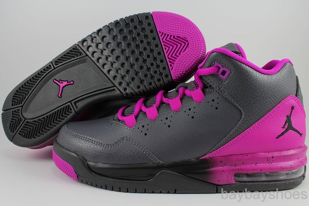 NIKE AIR JORDAN FLIGHT ORIGIN 2 GRAY/BLACK/FUCHSIA FLASH PURPLE WOMEN GIRL  YOUTH
