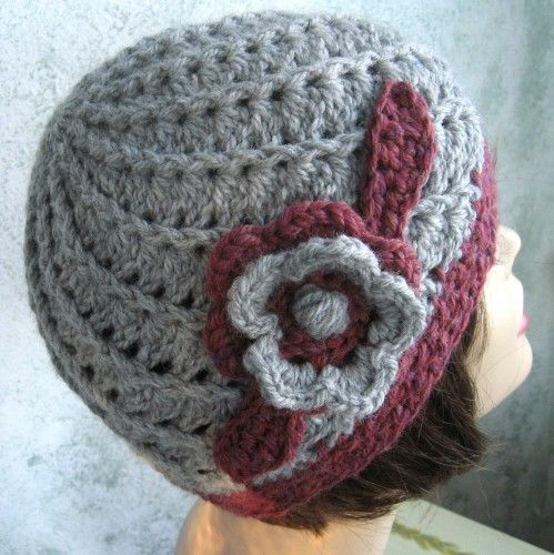 Crochet Pattern Womens Hat Pattern With Spiral Rib And Flower Trim