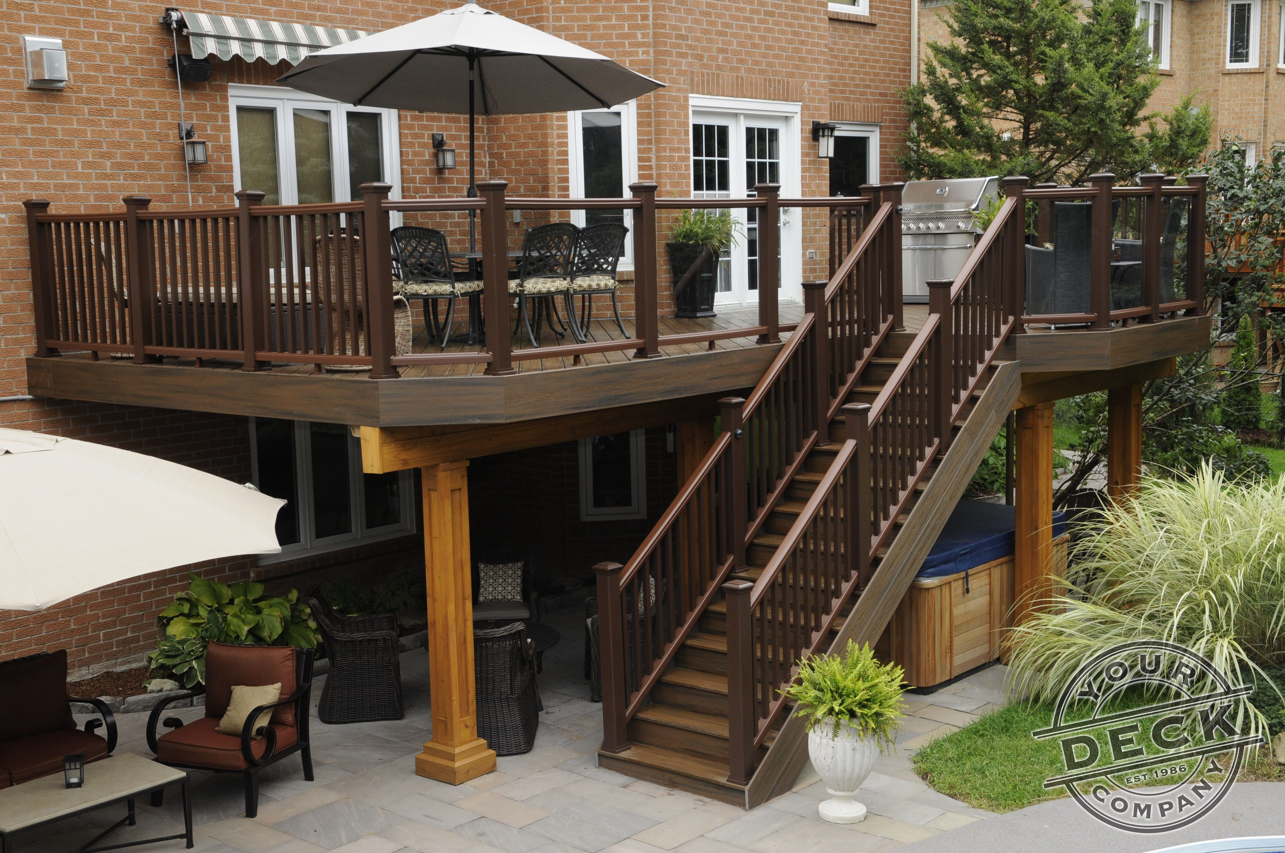 Using Trex decking railing and lighting The area under the deck