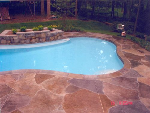 Concrete Resurfaced Pool Deck With A Stamped Overlay Pool Decks