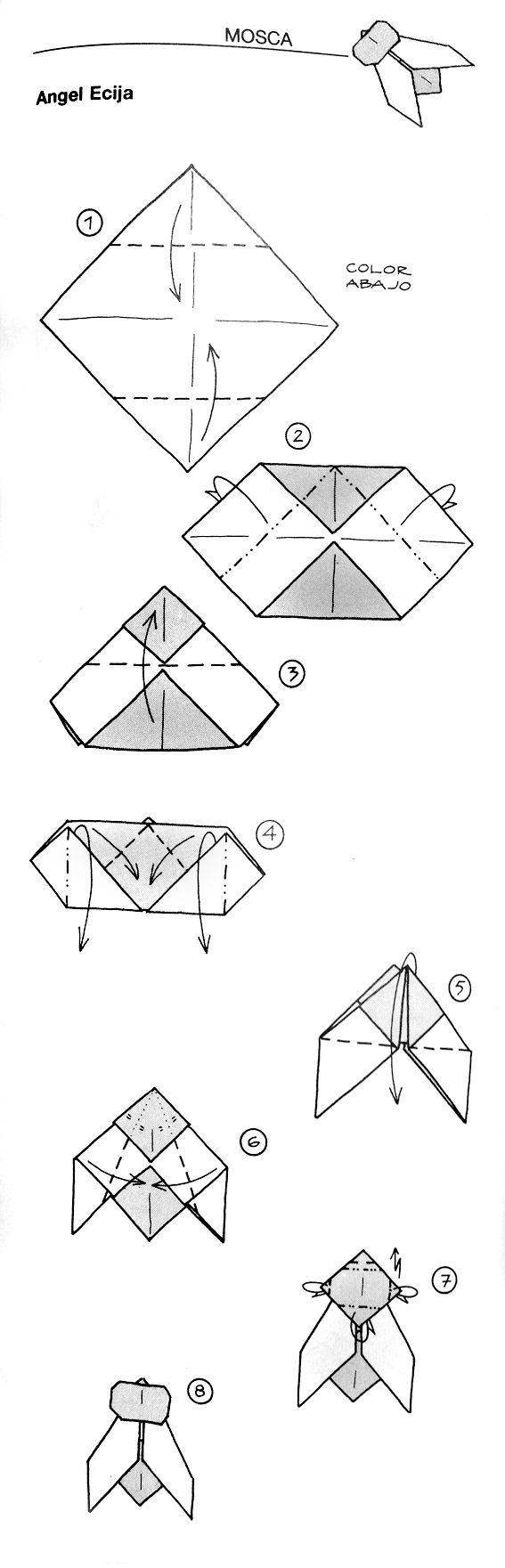 Fly Mosca Origami Papiroflexia Angel Diagrams Paper Kirigami