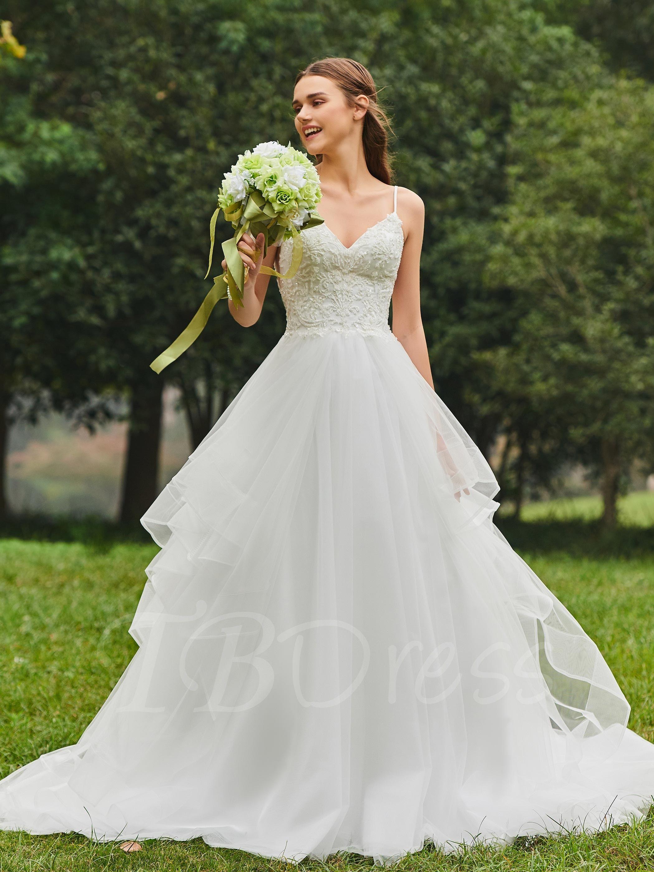 Spaghetti Straps Beaded Appliques Wedding Dress | Wedding ...