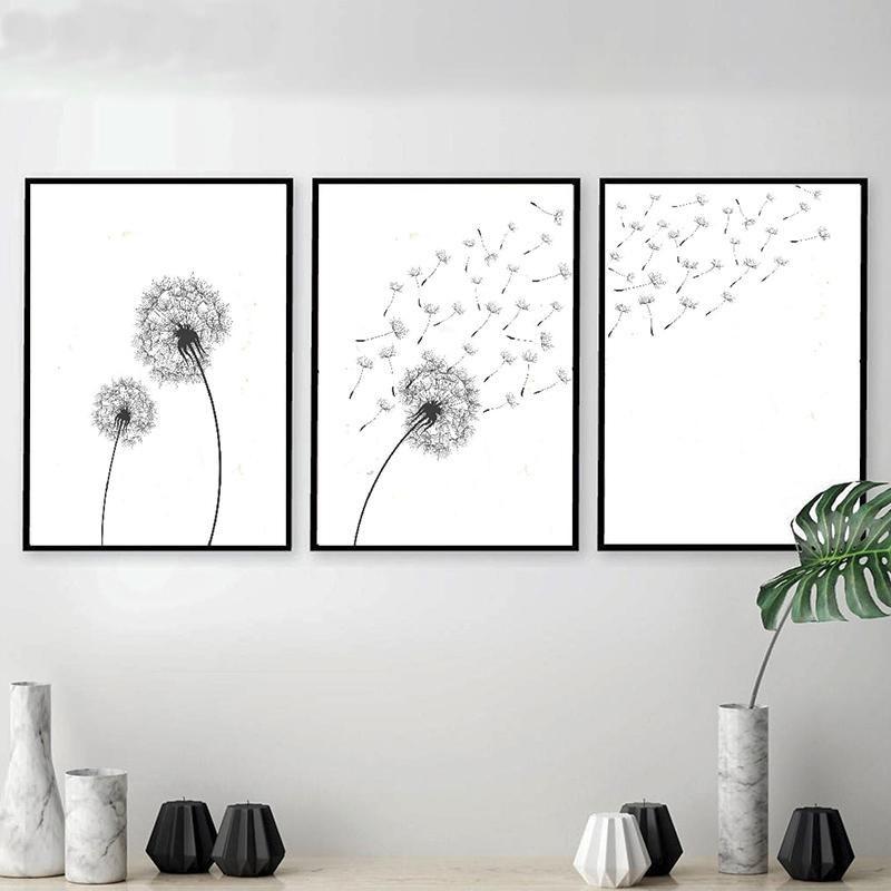 Gallery Wall Trio Of Dandelion Art Prints Dandelion Art Black And White Wall Art White Wall Art