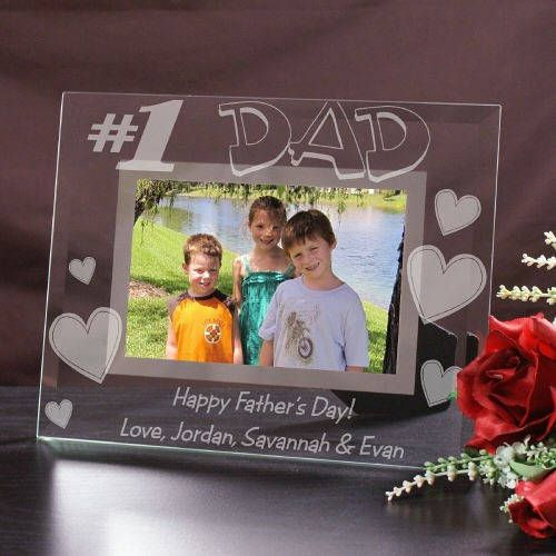 Happy Father\'s Day Glass Frame Any Message Engraved Custom Picture ...