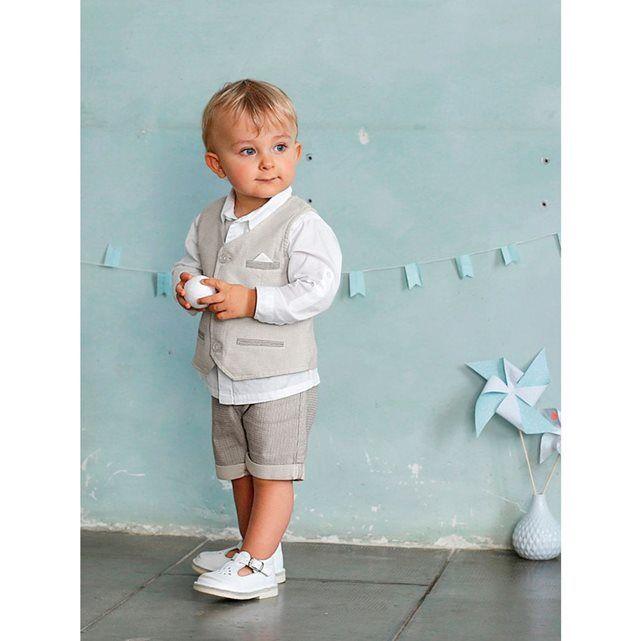 Ensemble bébé garçon chemise + gilet sans manche + bermuda  691f64bce5c