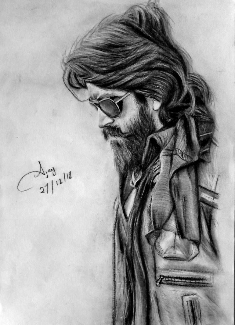 Kgf Chapter 1 Rocking Star Yash Drawing In 2020 Celebrity Drawings Portrait Sketches Watercolor Portrait Tutorial