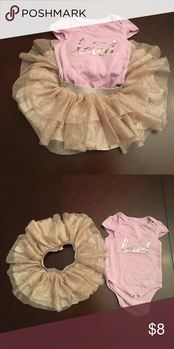 """Cat & Jack tutu set- lavender & rose gold This set is spring perfection! The onesie is lavender with silver writing """"loved"""". The coordinating tutu skirt is rose gold with gray lining and a silver elastic waistband. Pair together or with another favorite onesie! cat & jack Matching Sets"""