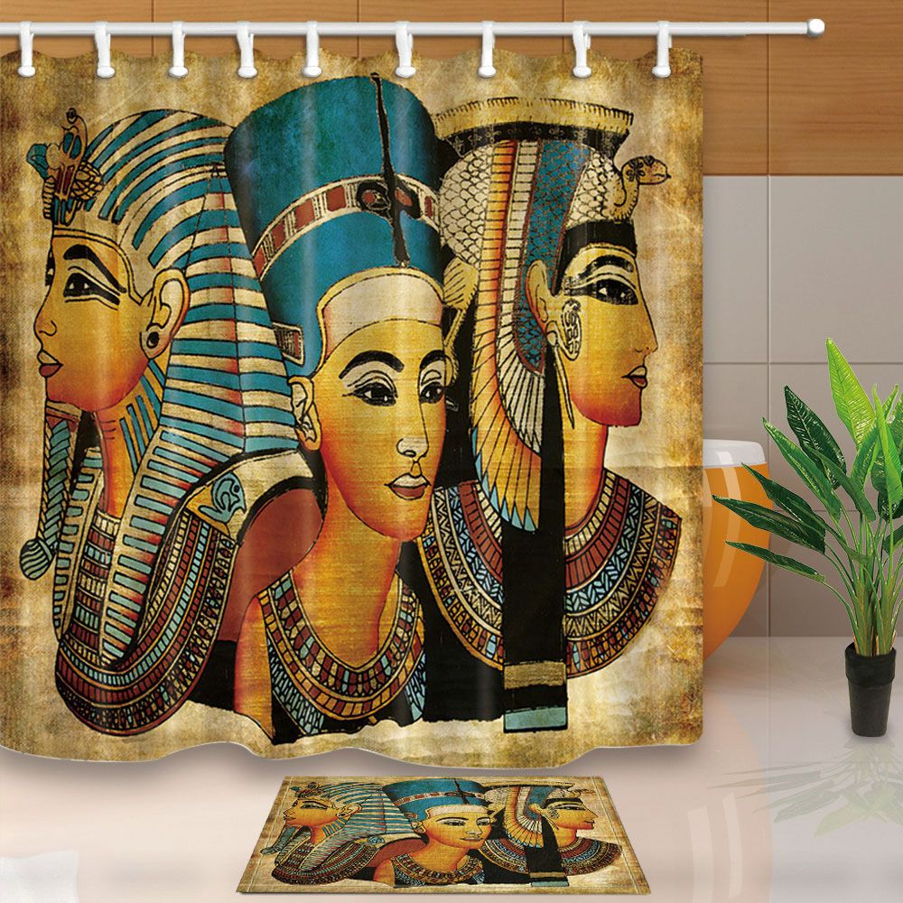 Details About Egyptian Theme Waterproof Fabric Shower Curtain 12hooks Bathroom Mat Home Decor With Images Fabric Shower Curtains Shower Curtain Girls Shower