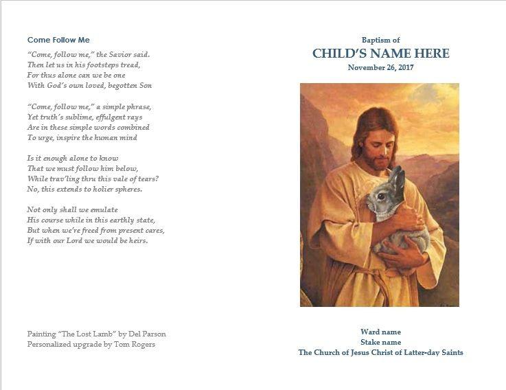Lds Child Baptism Program Cover Lds Templates Baptism Program